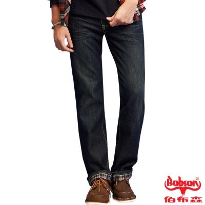 BOBSON 男款熱感IN刺繡直筒褲(藍52)