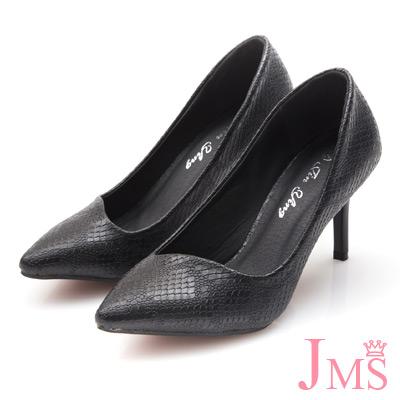 JMS-通勤族必備四季款蛇紋高跟鞋-黑色
