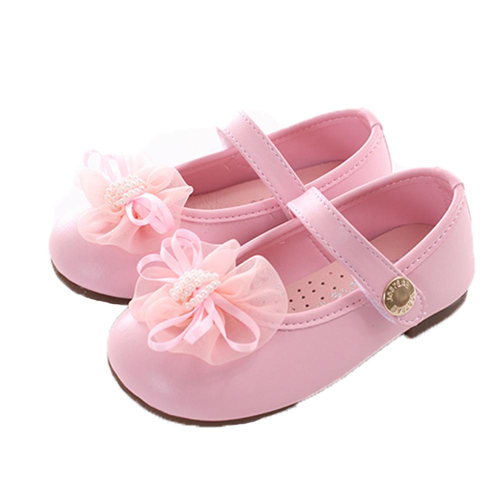 緞帶蝴蝶結手工娃娃鞋 粉 sk0382 魔法Baby
