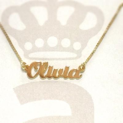 Anna Lou Of London 倫敦品牌 OLIVIA 英文名字金色項鍊