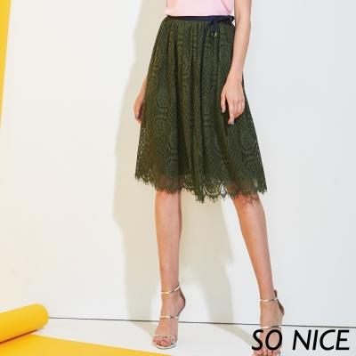 SO NICE優雅鏤空兩件式蕾絲裙-動態show