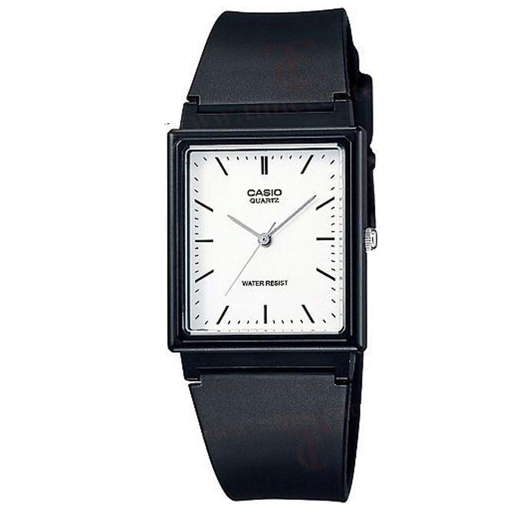 CASIO 超輕薄感簡約方型數字休閒錶(MQ-27-7E)-白色丁字面/30mm
