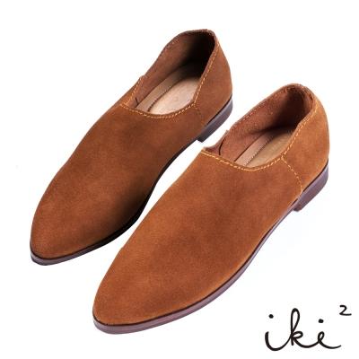 iki2 x A c chi chi 真皮舒適親膚尖頭平底鞋-麂皮咖