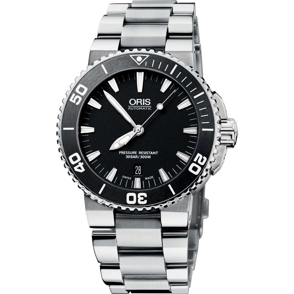 Oris Aquis 時間之海專業潛水機械腕錶-黑/42mm