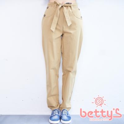betty's貝蒂思 格紋拼接腰帶英倫風長褲(褐色)
