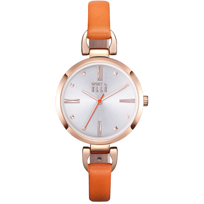 ELLE 優雅時尚皮革手錶-玫瑰金框X橘帶/32mm