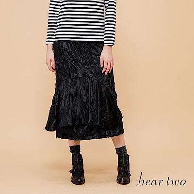 beartwo 細絨感變化造型層次長裙(黑色)