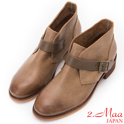 2.Maa - 經典環扣牛皮舒適短靴 - 軍綠