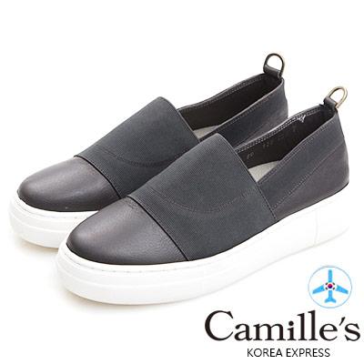 Camille's 韓國空運-正韓製-牛皮拼接鬆緊織布懶人休閒鞋-灰色