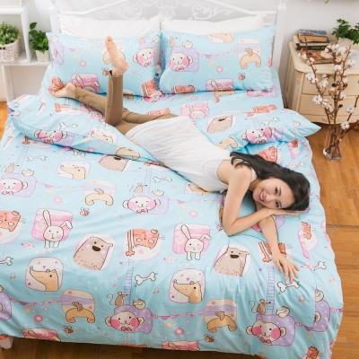 eyah宜雅 台灣製100%精梳棉新式兩用被單人床包被套四件組 小朋友一起出來玩-藍天真