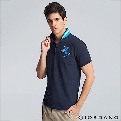 GIORDANO 男裝拿破崙立體刺繡彈力萊卡短袖POLO衫-14 標誌海軍藍