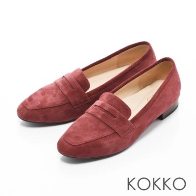KOKKO-女紳暖意羊麂皮方頭樂福跟鞋-紫羅蘭紅