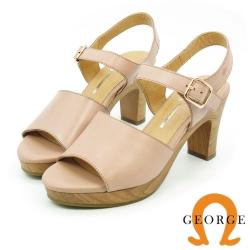 GEORGE 喬治-簡約寬版質感真皮高跟涼鞋-粉色
