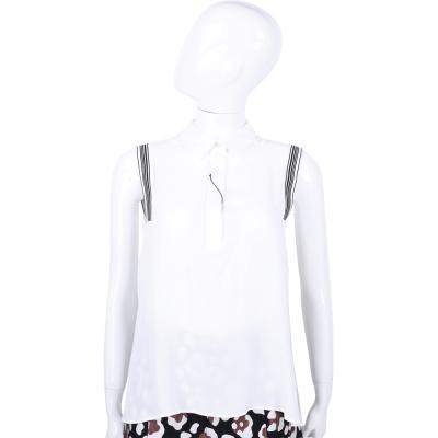 MAX MARA-SPORTMAX 白色條紋飾邊無袖上衣