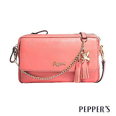 PEPPER`S Sophia 羊皮雙層小斜背包 - 珊瑚粉