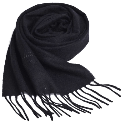 Aquascutum 義大利製100%喀什米爾經典品牌LOGO刺繡圍巾(黑)