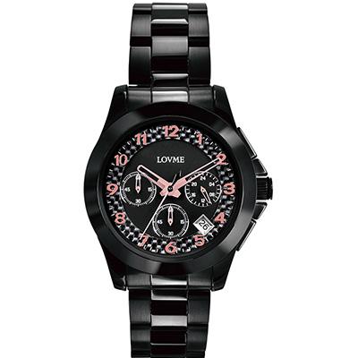 LOVME 華麗饗宴三眼計時腕錶-IP黑x玫瑰金刻度/41mm