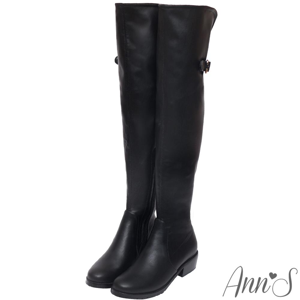 Ann'S女星美腿後V口開叉羊紋彈力皮革側拉鍊過膝靴-黑