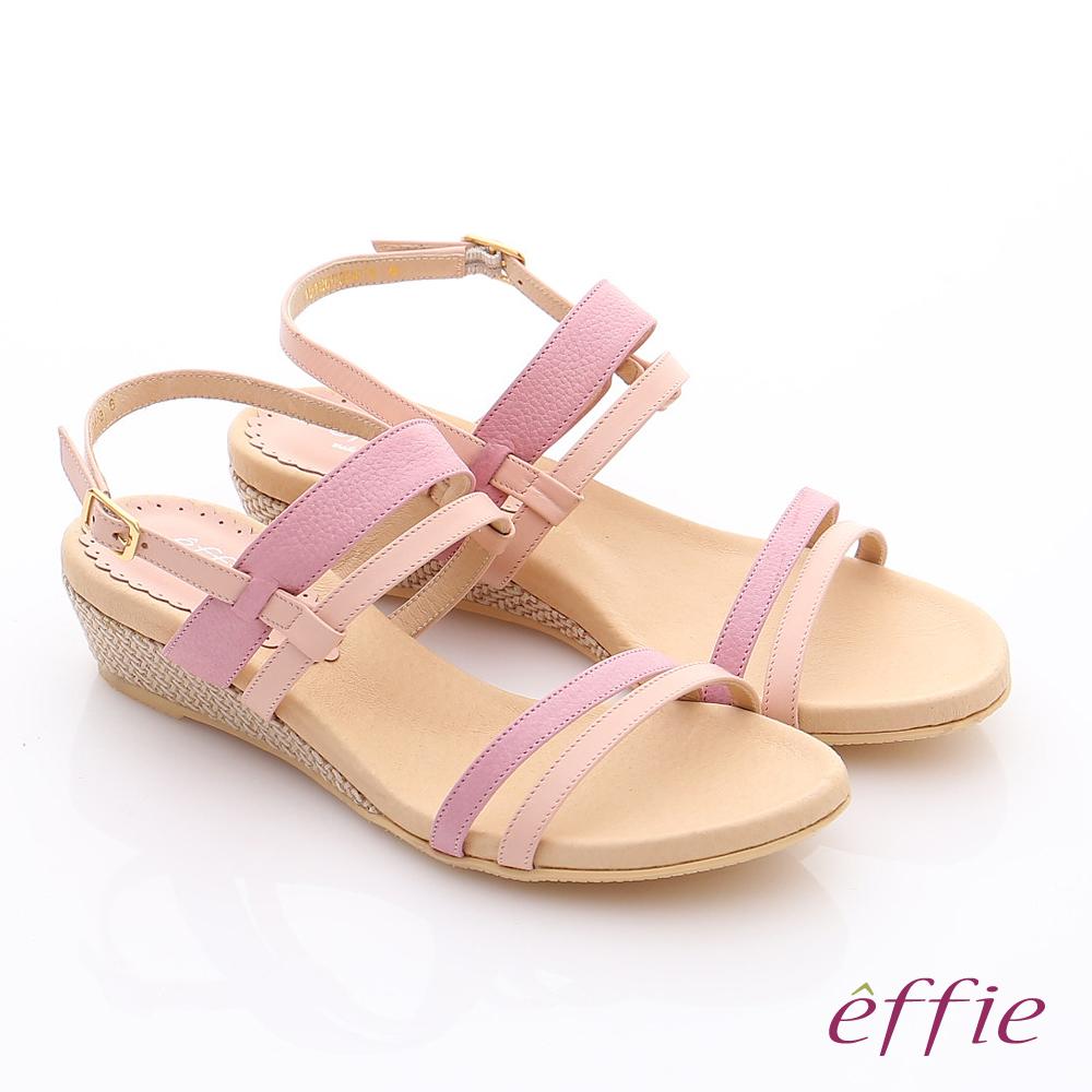 effie 個性涼夏 真皮雙條帶小坡跟涼鞋 粉紅