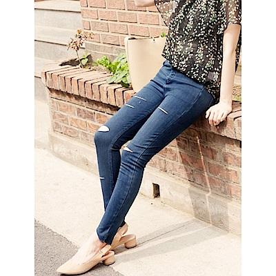 個性刷破腰圍鬆緊褲襬上切彈性窄管褲. 2 色-OB嚴選