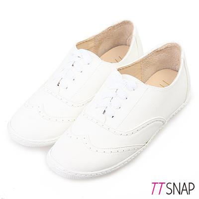TTSNAP休閒鞋MIT素面牛紋綁帶牛津鞋 白