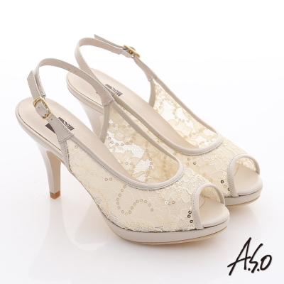 A.S.O 法式浪漫 真皮蕾絲亮片魚口高跟涼鞋 米色