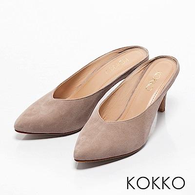 KOKKO -瀟灑隨性真皮高跟穆勒鞋-慵懶灰