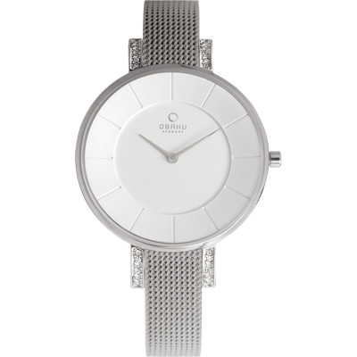 OBAKU采耀時刻晶鑽米蘭腕錶-銀白色/32mm