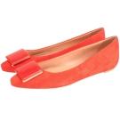 TOD'S 方塊麂皮尖頭平底鞋(橘紅色)