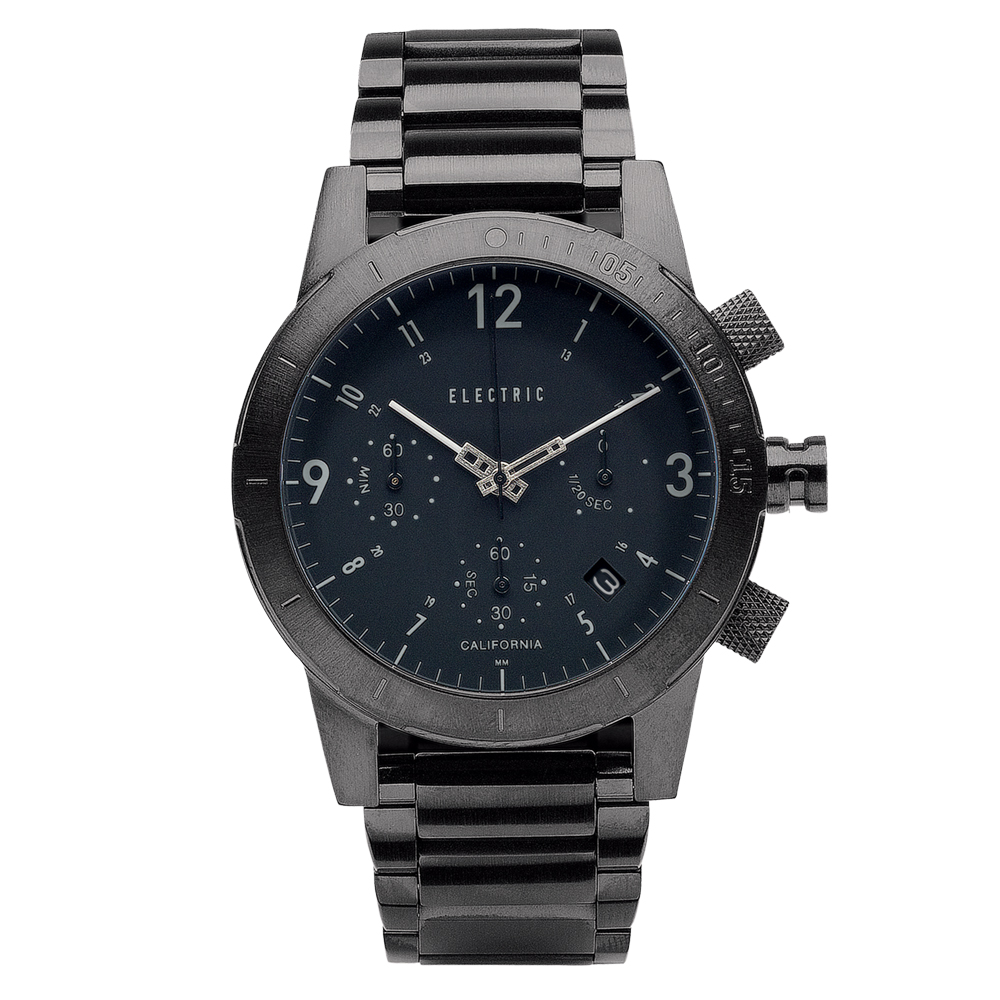 ELECTRIC FW02系列-復古強悍三眼計時腕錶-黑面x鐵灰鋼帶/44mm