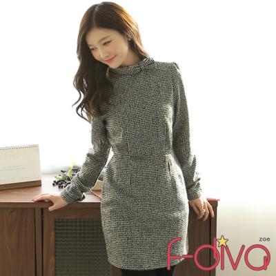 千鳥格紋腰身洋裝(象牙白)-f-diva
