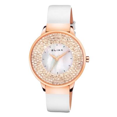 ELIXA Finesse系列玫瑰金框 白色晶鑽錶面/皮革錶帶38mm