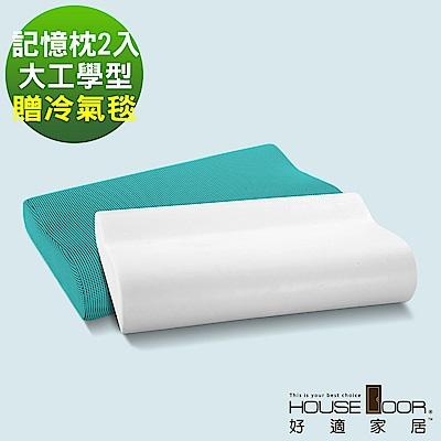 House Door 吸濕排濕布 親水性涼感釋壓記憶枕-工學型-贈冷氣毯(2入)
