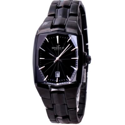 MORRIS K 巴黎時尚波紋腕錶-IP黑X銀指標/44mm
