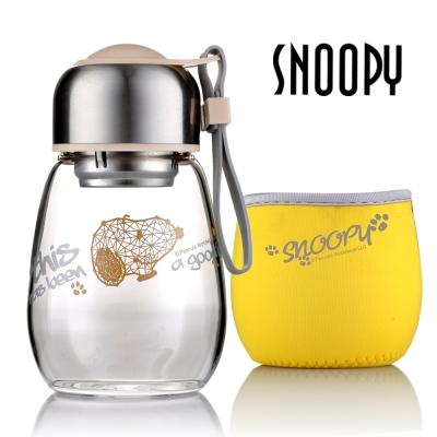 SNOOPY史努比奢耀玻璃小Q杯450ml(附隔熱套)(8H)