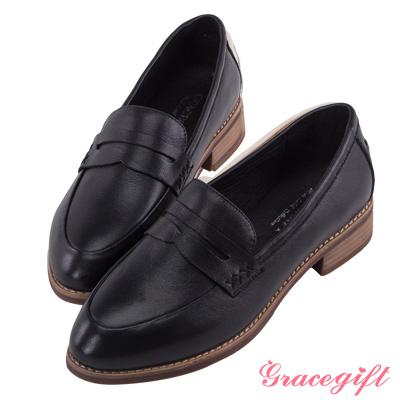 Grace gift-全真皮休閒橫帶樂福鞋 黑