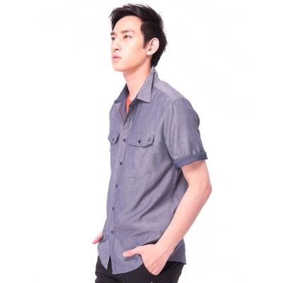 【hilltop山頂鳥】男款吸濕排汗抗UV天絲棉短袖襯衫S06M60-淺藍