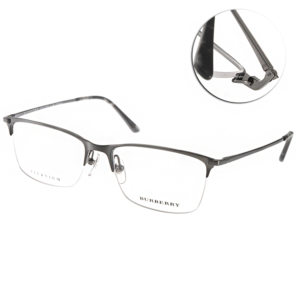 BURBERRY眼鏡 質感半框/槍銀#BU1284TD 1078 @ Y!購物