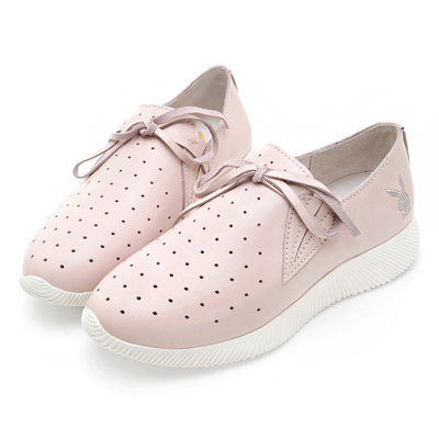 PLAYBOY軟芯風采 綁帶舒適真皮休閒鞋-粉