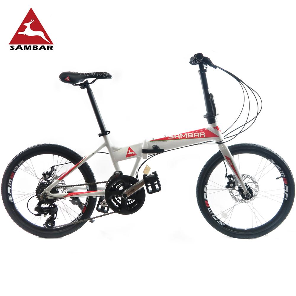 SAMBAR SB-07 20吋451小刀圈輪組24速鋁合金碟煞折疊單車-白橘