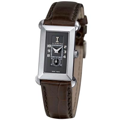 ICEBERG 舊愛新歡系列皮帶錶-黑x咖啡色皮帶/34mm