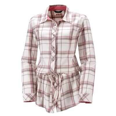 ATUNAS 歐都納 女款長版保暖彈性長袖襯衫 A-S1113W 米白格