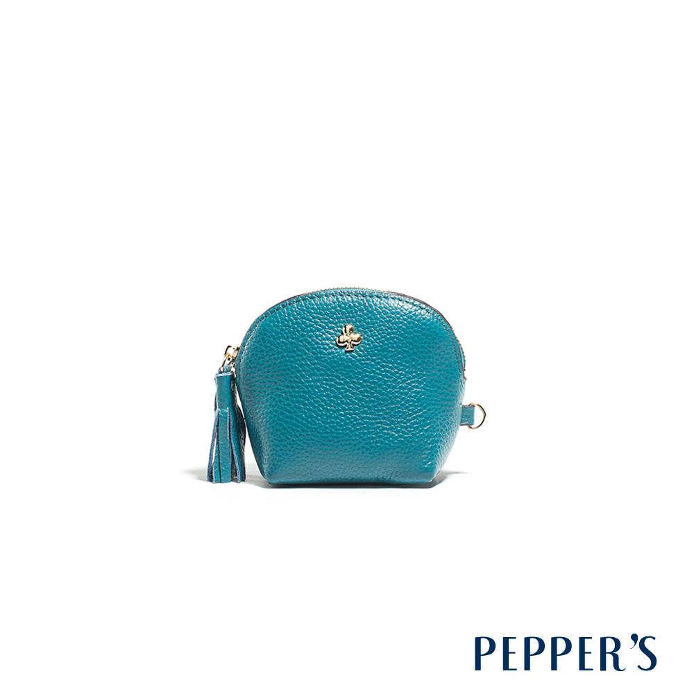 PEPPER`S Doris 牛皮貝殼零錢鑰匙包 - 土耳其藍
