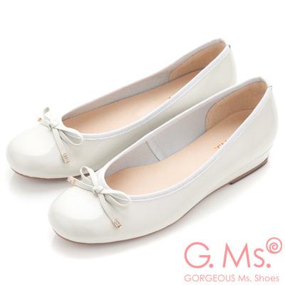 G.Ms. MIT系列-法式圓舞曲-蝴蝶結牛漆皮微坡跟娃娃鞋-灰米白