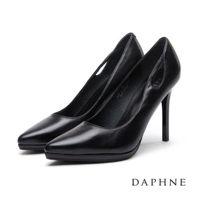 達芙妮DAPHNE 高跟鞋-全真皮水滴縷空尖頭鞋-黑
