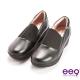 ee9 芯滿益足~率性異材質併接伸縮飾帶超輕楔型跟包鞋~黑色