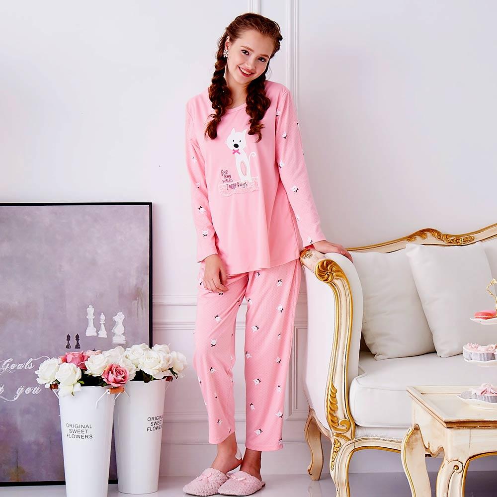 睡衣 精梳棉柔針織 長袖兩件式睡衣(67205)粉色 蕾妮塔塔
