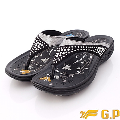 GP涼鞋-閃耀晶鑽夾腳拖鞋款-G5897W-10黑(女段)N