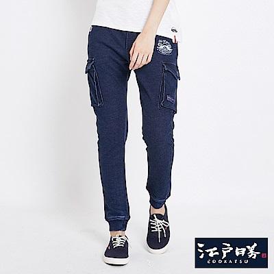 EDWIN 江戶勝窄版貼袋束口褲-中性-酵洗藍