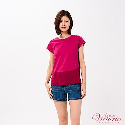 Victoria 下襬圓弧袖異材質拼接短袖T-女-深紫紅